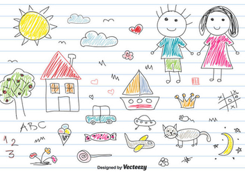 Children Drawing Vector Set - Free vector #433685