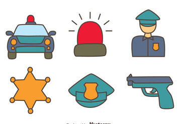 Hand Drawn Police Element Vectors - vector gratuit #433735