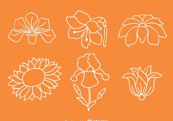 Flowers Collection Line Vectors - vector gratuit #433745