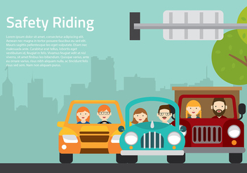 Carpool Cartoon Free Vector - vector gratuit #433795