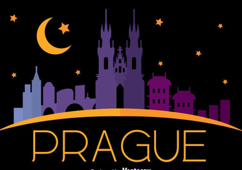 Prague City Skyline In Night Vector - Free vector #433815