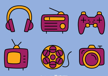 Hand Drawn Multi Media Icons Vectors - Free vector #433825