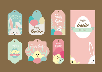 Cute Easter Gift Tag Vector Collection - vector gratuit #433845