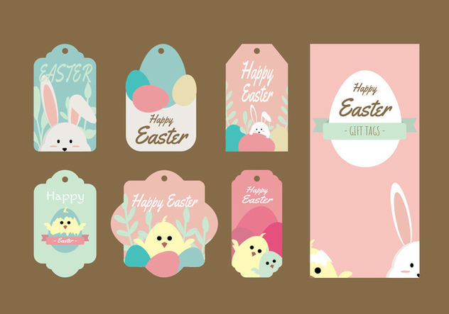 Cute Easter Gift Tag Vector Collection - Free vector #433845