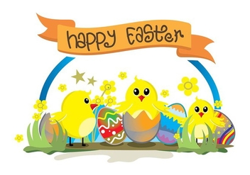 Easter chick cute background - vector gratuit #433905
