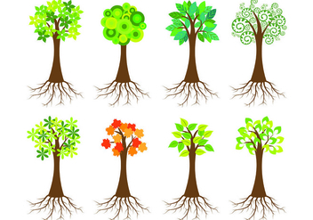 Icon Of Tree With Roots - Free vector #433915