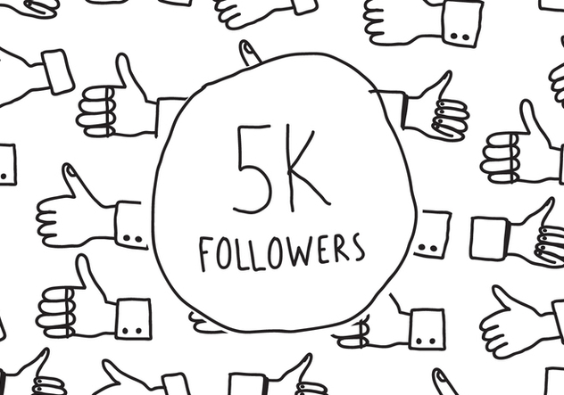 5K Followers Doodle - Free vector #433945