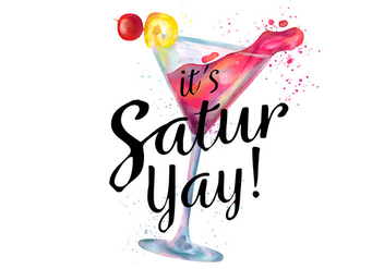 Watercolor Pink Cocktail Drink With Splash To Saturday Night - vector gratuit #434155