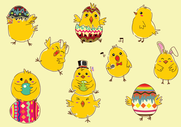 Easter Chick Cartoon Free Vector - Free vector #434185