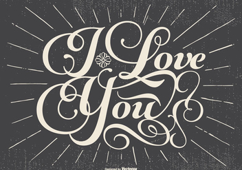Retro Typographic Love Illustration - Free vector #434205