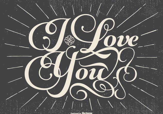 Retro Typographic Love Illustration - Kostenloses vector #434205
