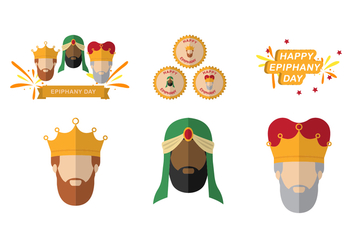 Three Kings and Epiphany Element Vectors - Free vector #434215
