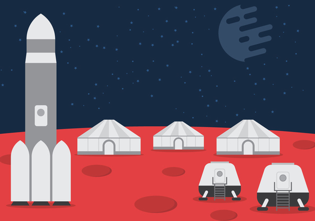 Space Colony Vector Background - vector gratuit #434245