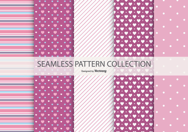 Cute Seamless Patterns Collection - vector gratuit #434325