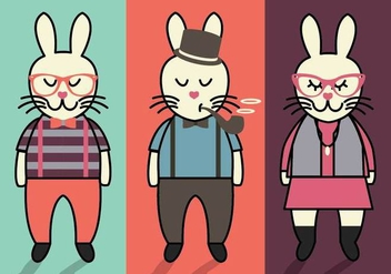 Bunny Hipster Easter Vectors - Free vector #434335