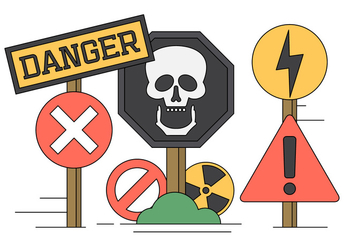 Vector Illustration of Danger Sings and Icons - Free vector #434585