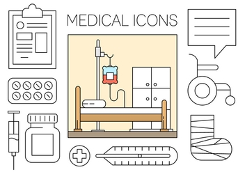 Free Medical Icons Set in Minimal Design Vector - vector gratuit #434605