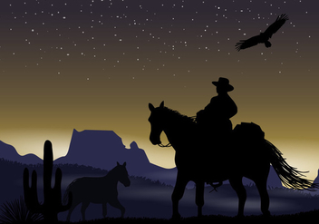 Gaucho Night Silhouette - Free vector #434795