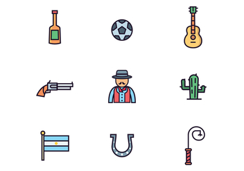 Argentinian Gaucho Icons - Free vector #434865