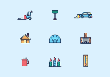 Icon Pack of Winter Icons - vector #434905 gratis