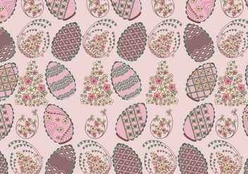 Floral Chocolate Easter Eggs Pattern Vector - Free vector #434975