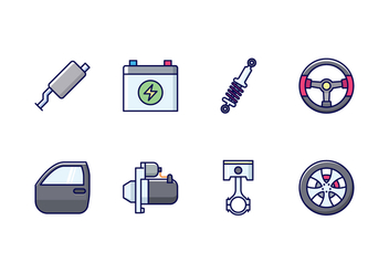 Automobile Parts Icon Set - vector gratuit #434995
