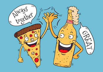 Funny Pizza And Beer Friends Character High Five Hand - Free vector #435055
