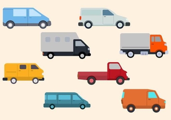 Flat Van Vector Collection - vector gratuit #435075