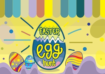 Colorful Easter Egg Hunt Funky Pop Background - Free vector #435085