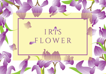 Iris Flower Greeting Card Vector - Free vector #435095