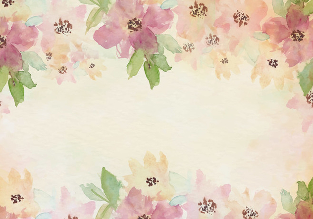 Free Vector Vintage Watercolor Background With Painted Flowers - Kostenloses vector #435365