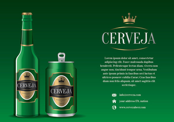 Cerveja Green Bottle and Can Free Vector - Free vector #435455