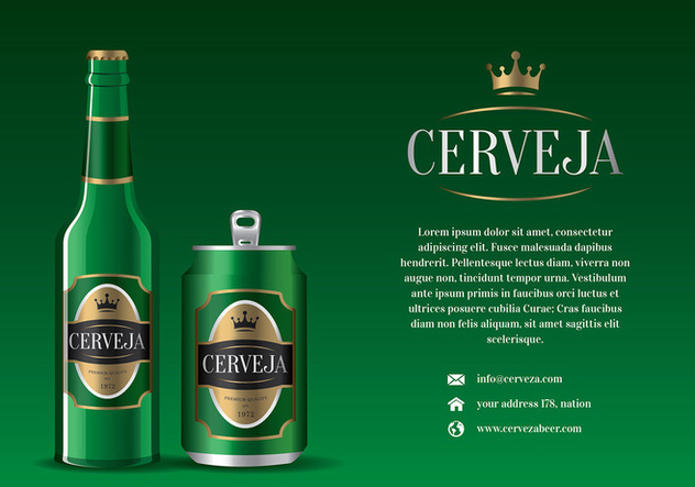 Cerveja Green Bottle and Can Free Vector - vector #435455 gratis