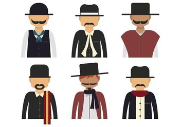 Gaucho character half body vector set - бесплатный vector #435475