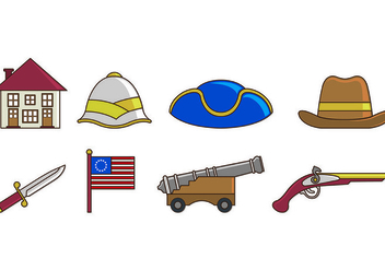Set Of American Colonial Icons - Free vector #435515
