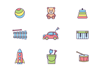 Colorful Toys Icons - Free vector #435555