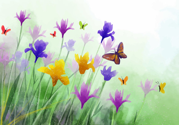 Watercolor Wildflower Iris Flower Vector Background - Free vector #435585