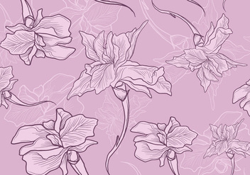 Iris Flower Seamless Pattern - Free vector #435595