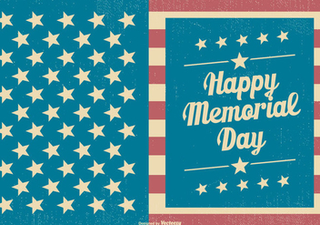 Vintage Memorial Day Card Template - vector gratuit #435705