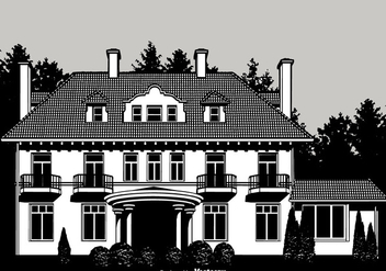 Colonial Mansion Vector Design - vector gratuit #435715