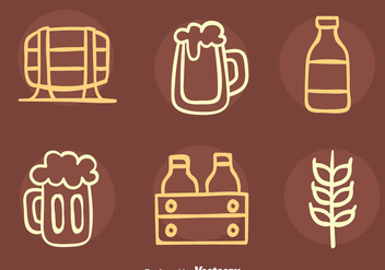 Nice Beer Element Sketch Icons Vector - Free vector #435845