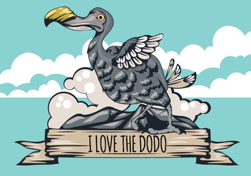I Love The Dodo Bird Illustration with Ribbon - vector #435925 gratis