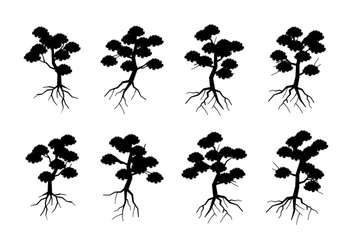 Silhouette Tree With Roots Free Vector - Free vector #435945