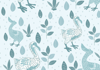 Seamless Pattern of Dodo Illustration with Scandinavian Style - Free vector #435965