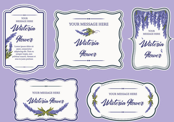 Wisteria Flower Label Banner Frame Vector - Kostenloses vector #436005