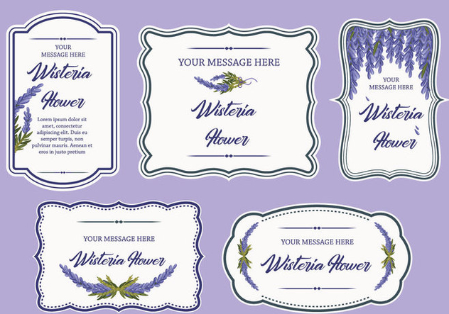 Wisteria Flower Label Banner Frame Vector - Free vector #436005
