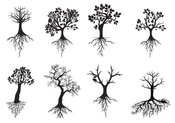 Free Black Silhouettes Tree With Roots Vector - Free vector #436035