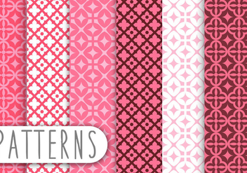 Pink Damask Decorative Pattern Set - vector gratuit #436225