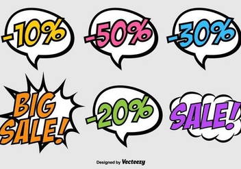 Vector Speech Bubbles On Pop Art Style - Discount Banners - Free vector #436245