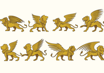 Prowling Winged Lion Vectors Fulcolor - Free vector #436355